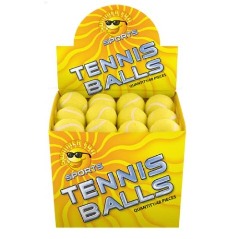 48 x Sports Tennis Balls Yellow (Loose) 6cm  - Wholesale Box